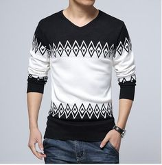 ba0cf73f1bff Nisexper Hot New Knitted Sweater Men Casual Fashion Slim Men s Sweater  V-neck Long Sleeve Pullovers Mens Clothing Size XXL. GP · ΜΟΝΤΕΡΝΑ ΑΝΔΡΙΚΑ  ΠΛΕΚΤΑ