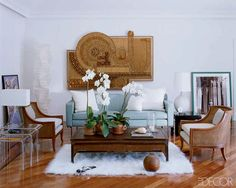 Living Room, Andrew Galuppi, Modern, Eclectic, Rattan, Flokati, lucite, blue