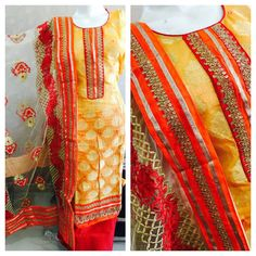Chanderi brocade shirt with neck patti with  cotton bottom with  net duppta with  embroidery   PRICE : 1999/-