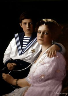 Empress Alexandra Feodorovna of Russia with her son Alexei
