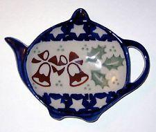 british teapot teabag holder | Polish Pottery Teapot Shaped Teabag Holder Tea Bag Caddy PZD Christmas ...