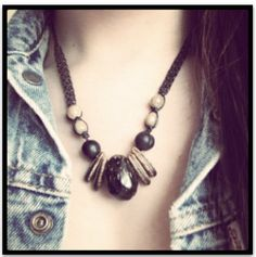 Wood Beads Necklace. $8.00, via Etsy.