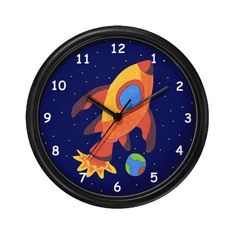 Outer Space Rocket Ship Wall Art Clock by Cartoon Animal Gifts. $23.99. Lightweight black plastic frame/case. Removable image insert. Decorate any room in your home or office with our 10 inch wall clock. Black plastic case. Requires 1 AA battery (included).