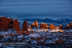 The sun highlights the rock formations of the Windows area of Arches National Park in this image captured in January of 2016. - Rich Briggs - Google+