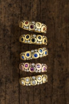 The classic Alex Sepkus Candy ring goes with everything and should be part of any dream stack. The rings are handmade in 18k yellow and rose gold with sapphires, diamonds and black spinel. All Alex Sepkus jewelry is made in New York. #alexsepkus #jewelry #ring