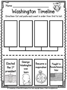 George Washington Timeline for Presidents Day Social Studies Lesson Plans, Kindergarten Social Studies, Social Studies Activities, Teaching Social Studies, Student Teaching, Writing Activities, In Kindergarten, Presidents Day Kindergarten Crafts, Teaching Ideas