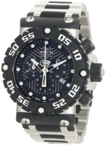 Invicta Men's 0402 Subaqua Collection Nitro Chronograph Stainless Steel and Polyurethane Watch Invicta. $302.64. Black textured dial with silver-tone hands and dot hour markers; luminous; black polyurethane unidirectional bezel with white arabic numerals and screw-down crown and pushers. Chronograph functions with 60 second, 30 minute and 1/10 of a second subdial; day and date function. Water-resistant to 330 feet (100 M). Durable flame-fusion crystal; brushed stainless steel an...