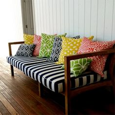 Daybed. Need black and white stripe bedding with yellow accents(guest room)