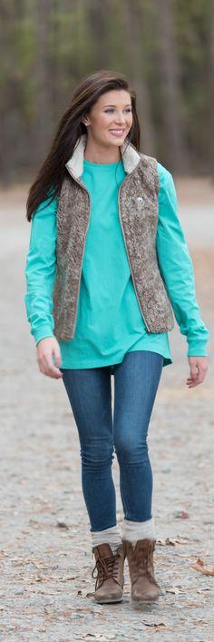 Walnut Heathered Sherpa Vest - top gift idea!