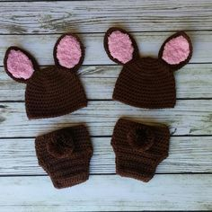 Twin Bunny set in brown