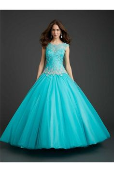 Ball Gown Boat Neckline Open Back Cap Sleeve Aqua Tulle Lace Beaded Corset Prom Dress