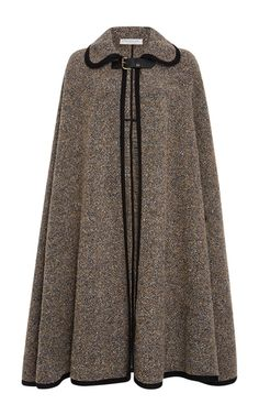 Rendered in a wool boucle, this **Philosophy di Lorenzo Serafini** cape features a rounded collar with a buckle fastening at the front, a long a-line silhouette, and contrasting trim throughout.