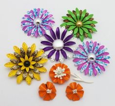 Lot of 5 Large Metal Flower Brooches Multi Colors by HeirloomBandB, $78.00