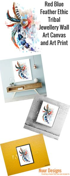 "Red & Blue Feather Ethic Tribal Jewellery Beautiful Watercolour feather tribal jewellery Wall Art. This Red and Blue splash of colours can brighten any room. This Art work is a great way to give your home a touch of Boho decor.   All framed Paper prints Art Work are made to order and ready to hang. Images displayed ""in situ"" are not to scale and are for illustrative purposes only. http://stores.ebay.com.au/nuurdesignsstore?_rdc=1"