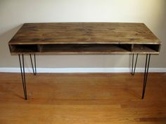 Rustic desk with hairpin legs by ConceptandCreate on Etsy