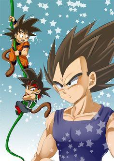 DBZ Vegeta, Goku and Bardock