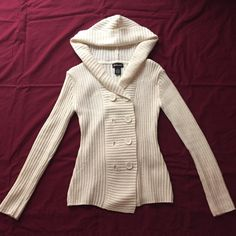 Knitted jacket Off white, not really cream colored, hooded, knitted jacket. Super cute and great for winter, unfortunately, there is a button missing ☹ Takeout Jackets & Coats