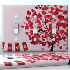 DIY Do It Yourself Home Decor - Easy to apply wall plate wraps | Love Tree  Tree with heart shaped leaves  wallplate skin sticker for 3 Gang Toggle LightSwitch | On SALE now only $5.95