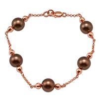 Chocolate Tahitian Pearl Bracelet in 14K Rose Gold (8-9mm)