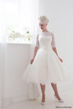 house of mooshki short wedding dresses spring 2015 primrose full lace tea length gown sleeves