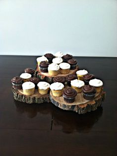 Rustic wood 3 tier cupcake stand
