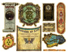DIY Printable lables -- courtesy of HowtoHauntYourHouse.jpg (3300×2550) Nice and large, perfect for potion bottle, beverage bottles, etc.  Don't forget to scour the internet for generous, free printables.