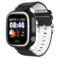 Toorand Smart Watch GPS Tracker with Phone Call miSafes Kid's Watcher Sports Monitor Security Google Map Tracker via Free App with Smartphone iPhone Samsung LG HTC Huawei Google Nexus 2G Network GSM sim Card (not included) black