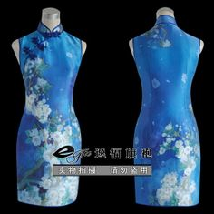 Blue silk cheongsam dress SPS08 - Custom-made Cheongsam,Chinese clothes, Qipao, Chinese Dresses, chinese clothing,EFU Tailor Shop