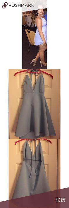 Boohoo Blue Halter Top Dress Boohoo Blue Halter Top Dress. Only worn once! Material is great and is super comfortable Boohoo Dresses Mini