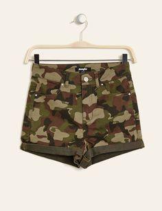 short taille haute camouflage kaki