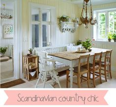 Scandinavian country chic....love the wall color!