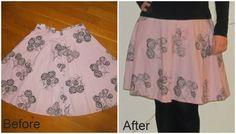 Skirt shortened and enlargened. Refashion upcycle DIY http://saga-i-farver.blogspot.dk/2014/11/50ernederdel-til-skaternederdel.html