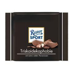 RITTER SPORT Fake Schokolade Sorte Triskaidekaphobie mit extra vielen Paranüssen (Triskaidekaphobie: die abergläubische Angst vor der Zahl 13)