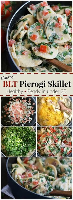 """BLT flavor + a 2-cheese """"alfredo"""" sauce make this healthy, quick and easy skillet meal a family favorite! It's a 30 minute meal that can even be made ahead and quickly re-warmed later! Our Cheesy BLT Pierogi Skillet Dinner recipe is true comfort food with a satisfyingly fresh twist! Pillowy soft pierogies are draped in a creamy, rich and cheesy sauce and loaded up with vibrant BLT flavors! A deliciously healthy pierogi recipe your family will ask for again and again…"""