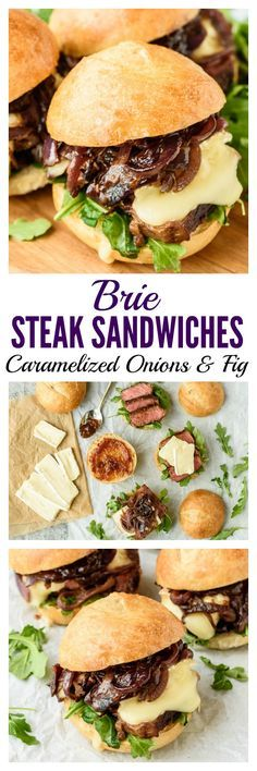 Juicy and tender steak sandwich sliders with creamy Brie cheese, caramelized onions, and fig jam. A sweet, savory flavor combination that's out of this world! Easy recipe to make in bulk for a party or for two for a special dinner. Sans the fig jam. Steak Sandwich Recipes, Soup And Sandwich, Brie Sandwich, Sandwich Sides, Beef Recipes, Cooking Recipes, Healthy Recipes, Shrimp Recipes, Vegetable Recipes