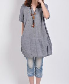 Grey linen tops cotton blouse casual loose dress linen T shirt large cotton tops embroidered dress linen dress plus size tops cotton dress on Etsy, $59.00
