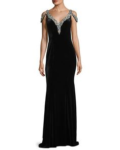 V-Neck+Jeweled+Velvet+Evening+Gown+by+Jovani+at+Neiman+Marcus.