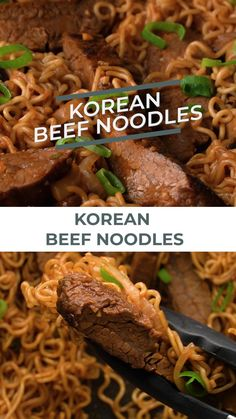 Korean Beef Noodles by Creme De La Crumb This easy recipe made with a simple Korean marinade and ramen noodles with onions and mushrooms makes a tasty dinner you ll have ready in just 30 minutes Pin made by Beef Korean # Easy Korean Recipes, Asian Recipes, Mexican Food Recipes, Healthy Recipes, Healthy Food, Easy Japanese Recipes, Chinese Recipes, Tasty Videos, Food Videos