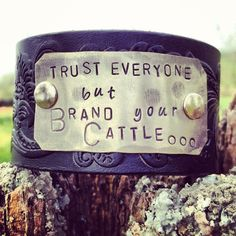 BRAND YOUR CATTLE vintage leather belt cuff by DirtRoadGirls, $40.00