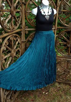 Silk broomstick skirt  teal  Medium by LamplightGifts on Etsy, $17.00