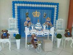 Decoração de festa infantil, chá de bebê, batizados, buffet em domicilio, decoração provençal, rustica e mais. Prince Birthday Theme, Baby Shower Niño, Ideas Para Fiestas, Twinkle Twinkle Little Star, Shower Favors, Birthday Party Decorations, Baby Love, Balloons, Birthdays