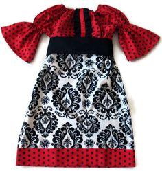 Christmas Peasant Dress, Girls Peasant Dress, Christmas Dress, Holiday Dress, Boutique Clothing, RTS, Size 5. $45.00, via Etsy.