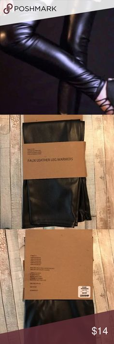 Sexy Urban Outfitters Faux Leather Leg Warmers found at URBAN OUTFITTERS and are sold out  Faux leather leg warmers  Made in the USA  ONE SIZE FOR ALL  100% polyester  zips in back Urban Outfitters Accessories Hosiery & Socks