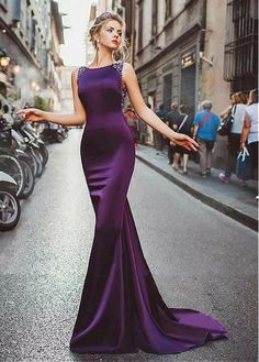 Prom Dress Fitted, Neckline Satin Purple Mermaid Evening Dresses With Beadings There are delicate lace prom dresses with sleeves, dazzling sequin ball gowns, and opulently beaded mermaid dresses. Mermaid Evening Dresses, Formal Evening Dresses, Elegant Dresses, Pretty Dresses, Evening Gowns, Dress Formal, Purple Evening Dress, Dark Purple Prom Dresses, Evening Dresses Online