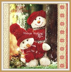 SALE *** TWO Paper napkins for DECOUPAGE - Christmas Snowman on Knitted Pattern…