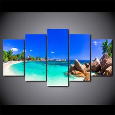 Beautiful Tropical Beach Paradise 5 Panel Canvas Print Wall Art - Extra Large Unframed (Canvas Only) 5 Piece Canvas Art, Canvas Wall Art, Islamic Wall Decor, Wall Art Prints, Canvas Prints, Beach Posters, Wave Art, Extra Large Wall Art, Seascape Paintings