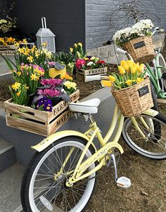 lentefeest of communiefeest tafeldecoratie met lente thema inspiratie fiets met krokussen en tulpen