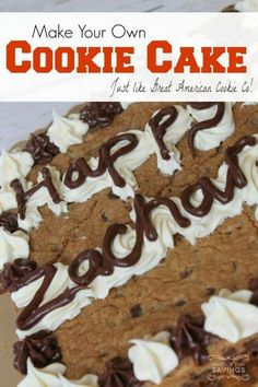 Be sure to check out this Homemade Great American Cookie Cake Recipe! Cut down on your Birthday Cake Cost with this Delicious Cookie Cake Recipe! #ChocolateRaspberryCake Homemade Cookie Cakes, Cookie Desserts, Just Desserts, Cookie Recipes, Delicious Desserts, Cat Recipes, Health Desserts, Recipies, Great American Cookie Cake Recipe