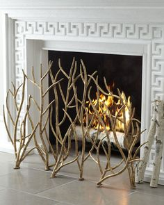 Fireplace Surround and Golden Branch Screen