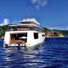 Steve Jobs' superyacht Venus demonstrates impressive maneuvering skills as it moves through the Simpson Bay Bridge.